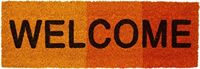 "Narrow ""Welcome"" Doormat Colour Gradient Coir Welcome Mat with Anti-Slip Underside of PVC Rubber Floor Mat Size: 1.5 x 75 x 25 cm, Red"