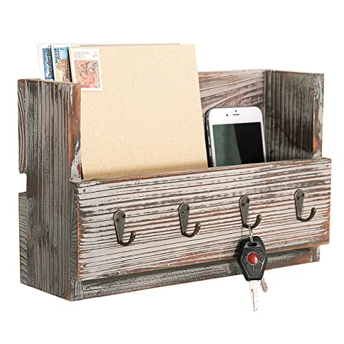 MyGift Rustic Torched Wood Wall Mounted Mail Holder Organizer with 4 Key Hooks