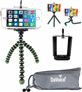 DaVoice Flexible Tripod Compatible with iPhone 7 6s 6 5s 5c 5 4s 4 SE 8 X XS XR Galaxy S9 S8 S7 S6 S5 - Bendy Tripod - Cellphone Tripod Adapter - Travel Bag - Mini Lightweight Bendable (Green/Black)