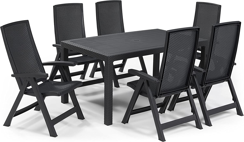 Keter - Set de mobiliario de jardín Melody/Montreal (mesa + 6 sillas), color grafito