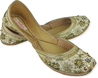 Fulkari Women's Great Bite and Pinch Free Genuine Soft Leather and Comfortable Office Ladies Jutis Ethnic Flat Shoes