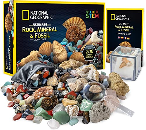 NATIONAL GEOGRAPHIC Rocks & Fossils Kit – 200 Piece Set Includes Geodes, Real Fossils, Rose Quartz, Jasper, Aventurin...