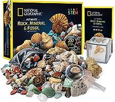 NATIONAL GEOGRAPHIC Rocks & Fossils Kit – 200+ Piece Set Includes Geodes, Real Fossils, Rose Quartz, Jasper, Aventurine...