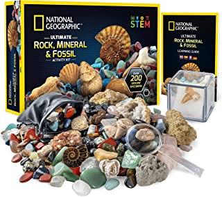 NATIONAL GEOGRAPHIC Rocks & Fossils Kit – 200 Piece Set Includes Geodes, Real Fossils, Rose Quartz, Jasper, Aventurine & M...