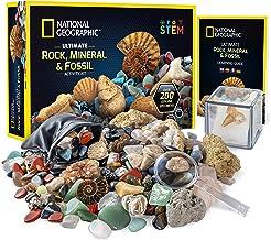 NATIONAL GEOGRAPHIC Rocks & Fossils Kit – 200 Piece Set Includes Geodes, Real Fossils, Rose Quartz, Jasper, Aventurine, & ...