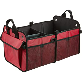 AmazonBasics Foldable Cargo Trunk Organizer for Cars, SUVs, and Trucks - Red