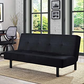 Black Functional 3-Position Tufted Futon, Padded Cushions, Sturdy Square Metal Legs & Metal Frame, Plush Microfiber Upholstery, Ideal As a Sofa, Lounger & Sleeper, Amazing & Comfortable