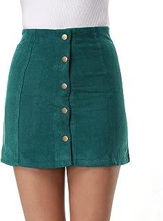 Women's High Waist Suede Button Closure A-Line Mini Skirt