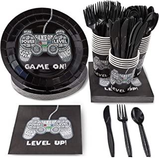 Juvale Video Game Party Supplies Serves 24 Includes Plates Knives Spoons