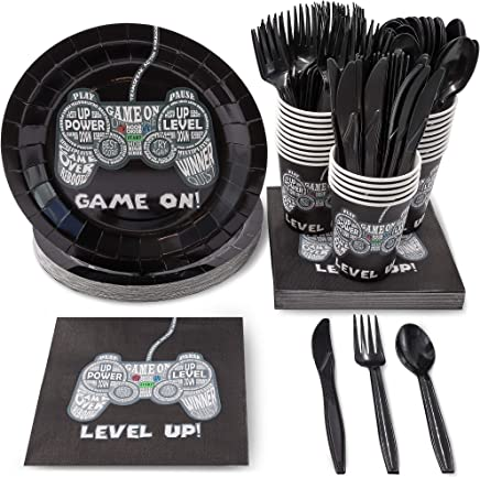 Juvale Gamer Party Supplies for Kids Birthday – Serves 24 – Video Game Plates, Knives, Spoons, Forks, Cups and Napkins