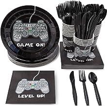 Paquete de fiesta de videojuegos, incluye platos, servilletas, tazas y cubiertos (24 invitados, 144 piezas)