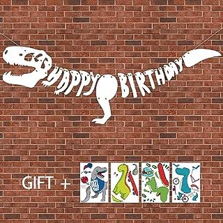 Geefuun Dinosaur Dino Happy Birthday Banner Fossil Jurassic T-REX Garland -- Party Decoration Supplies