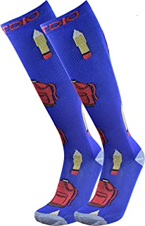 FITDIO Graduated 15-20mmHG Fun Knee High Circulation Compression Socks For Men & Women