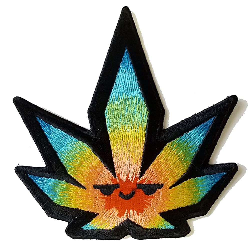 Pot Smoking Pals Psychedelic Leaf - Iron on Embroidered Patch Applique