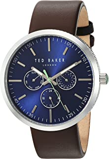 Ted Baker Men's 'JACK' Quartz Stainless Steel and Canvas Dress Watch, Color:Brown (Model: 10031500)