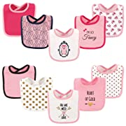 Hudson Baby Drooler Bib, 10 Pack, Owl and Hearts