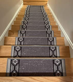 grey check carpet stairs