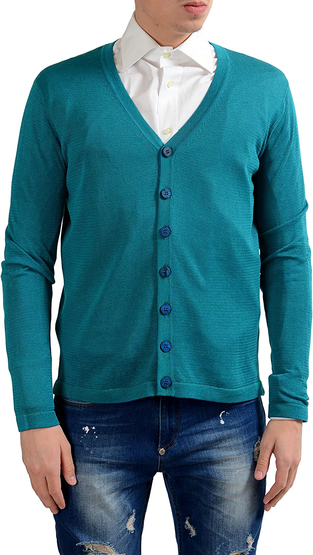 MALO Men's Light Silk Linen Cardigan Sweater US M IT 50 Blue