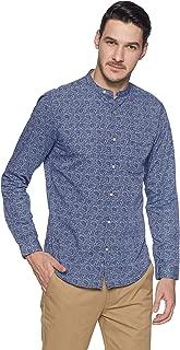 True Blue Men's Printed Casual Shirt (2031730876_Sky Blue_Small)