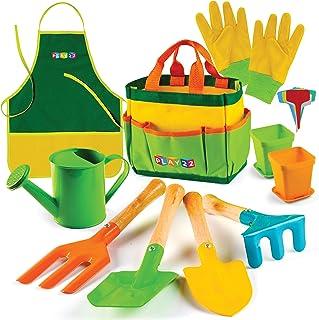 12 عدد مجموعه ابزارهای باغبانی کودکان Play22 - بیل ابزار باغبانی کودکان ، دستکش های پیش بند ماله چوبی ، کیف دستی و کیف دستی - ابزار باغبانی چوبی برای کودکان بهترین هدیه اسباب بازی در فضای باز برای دختران و پسران