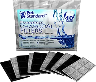 PET STANDARD Premium Charcoal Filters for PetSafe Drinkwell Fountains, Pack of 10