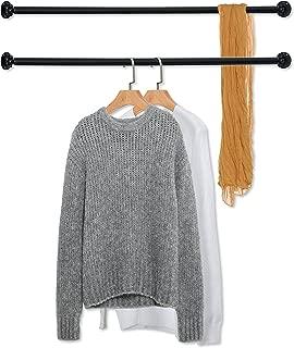 MyGift Set of 2 Matte Black Wall Mounted Metal Corner Clothing Hanging Bar, Garment Rack