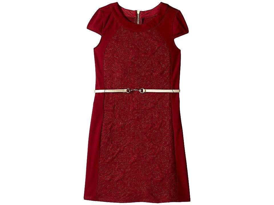 Us Angels Cap Sleeve Sheath Dress (Big Kids) (Cranberry) Girl