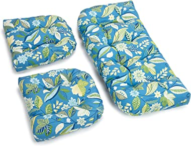 Blazing Needles Outdoor Spun Poly All Weather UV Resistant Settee Group Cushions, Skyworks Caribbean, Set of 3