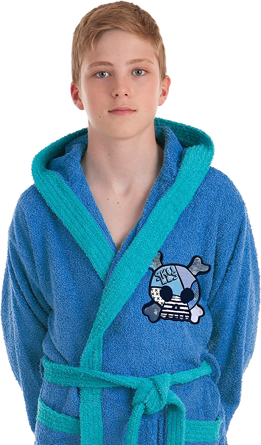 Embroidered Bathrobe Skulls Skull 100/% Cotton Stilia Bathrobe Shower Multicolour Child Years//Boy 14 Years Old