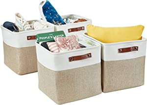 DECOMOMO Foldable Storage Bin Collapsible Sturdy Cationic Fabric Storage Basket Cube W/Handles for Organizing Shelf Nursery Home Closet (Beige and White, Cube - 13 x 13 x 13-4 Pack)