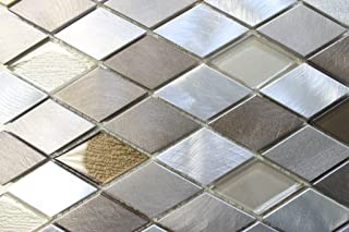 "4"" x 6"" Samples - Yaletown Diamond Brushed Aluminum and Glass Mosaic Tiles"