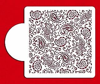 Designer Stencils C820 Paisley Henna Miniprint Stencil, Beige/semi-transparent