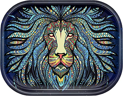 Metal Cigarette Rolling Tray by V Syndicate (Small, Tribal Lion)
