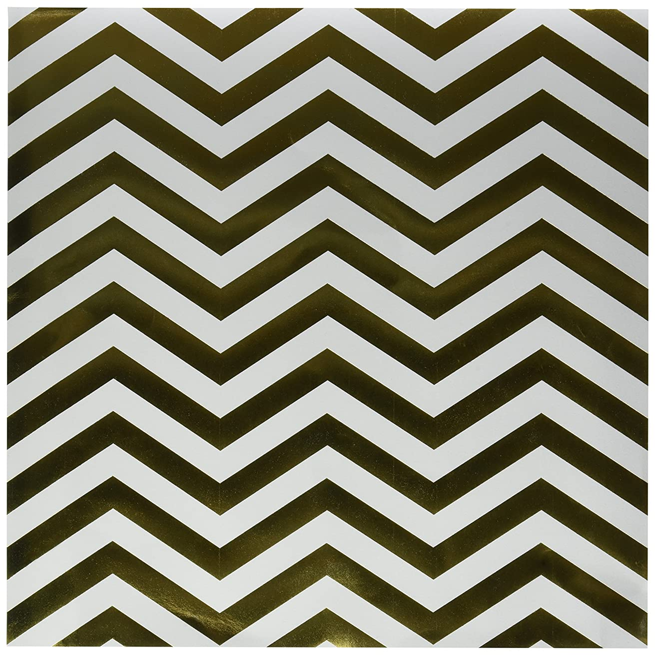 American Crafts DIY Shop 2 Specialty Cardstock, 12 by 12-Inch, Gold Foil Chevron on White
