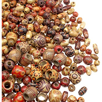 Large /& Small Round Barrel Tubular Craft Jewelry Beads for Bracelets /& Necklace Projects Painted Assorted African Wood Beads Macrame Supplies Beads 500 Wooden Beads for Jewelry Making Adults