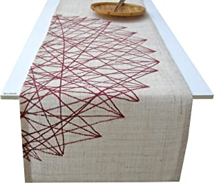 Camino de mesa dibujo geométrico granate, yute natural,manteles de diseño de BeccaTextile.