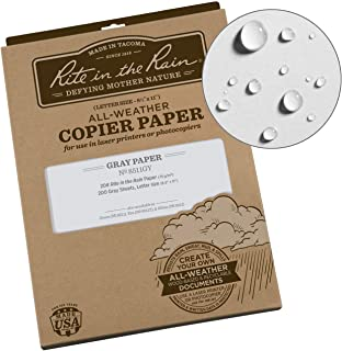 "Rite in the Rain Weatherproof Copier Paper, 8.5"" x 11"", 20# Gray, 200 Sheet Pack (No. 8511GY)"