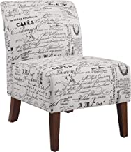 "Linon Linen Script Lily, Dark Walnut Chair, 21.5"" W x 29.5"" D X 31.5"" H"