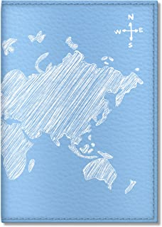 Cute Passport Cover for Women and Men, by Govinda Crafts, Eco Leather Passport Holder (Blue Map)