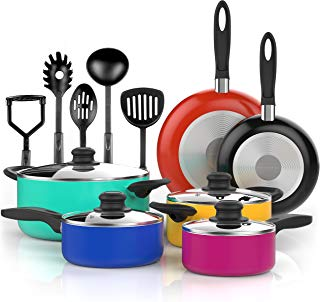 Vremi 15 Piece Nonstick Cookware Set - Durable Aluminum Pots and Pans with Cooking Utensils - Colorful Oven Safe and Multi Quart Enameled Saucepans Dutch Ovens and Fry Pans with Glass Lid