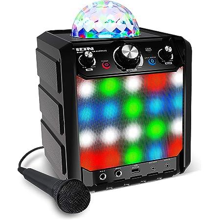 ION Audio Party Rocker Express – Enceinte Bluetooth / Machine à Karaoké 40 W avec Micro Karaoké, Lumières LED RGB et Fonctionnement sur Piles