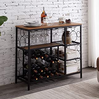 Hombazaar Industrial Wine Rack Table with Glass Holder and Wine Storage, Console Table with Wine Rack, Wine Bar Cabinet for Home Kitchen Dining Room, Brown