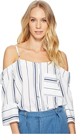 J.O.A. Cold Shoulder Button Up Top
