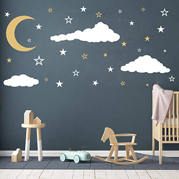 Moon Stars And Clouds Wall Decals Kids Wall Decoration Nursery Wall Decal Wall Decal For Nursery Vinyl Wall Stickers For Children Baby Kids Boys Girls Bedroom Y08 White Gold
