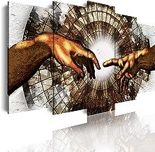 DekoArte - Cuadros Modernos Impresión de Imagen Artística Digitalizada   Lienzo Decorativo Para Tu Salón o Dormitorio   Estilo Abstracto Arte La Creación de Adán Capilla Sixtina   5 Piezas 150 x 80 cm
