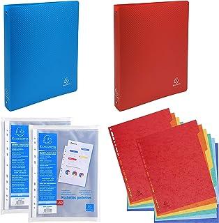 EXACOMPTA PACKRDCAMZE - Lot de 2 classeurs souples en PP + 2 sachets de 50 pochettes perforées lisses + 2 paquets de 6 int...