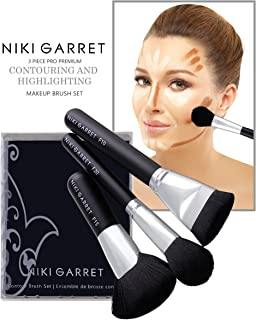 Niki Garret 3 Piece Premium Pro Contouring and Highlighting Makeup Brush Set Includes Flat Head Contour, Multipurpose Highlight and Foundation Makeup Brushes – Cruelty Free