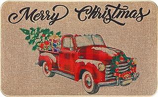 BBTO Decorative Christmas Doormat Welcome Christmas Rug Outdoor Entrance Christmas Floor Rugs Farm Truck Kitchen Christmas...