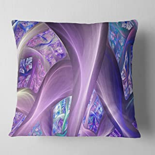 Designart Purple Blue Fractal Curves' Abstract Throw Cushion Pillow Cover for Living Room, sofa 18 in. x 18 in