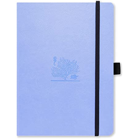 Dingbats Earth Dotted Medium A5+ Hardcover Journal - PU Leather, FP Proof 100gsm Coated Cream Paper, Numbered Pages, Inner Pocket, Elastic Closure, Pen Holder, 2 Bookmarks (Sky Blue GBR)